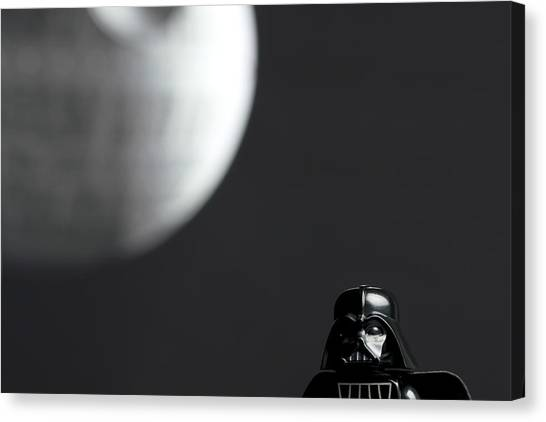Darth Vader Canvas Print - Darth And His Death Star by Samuel Whitton