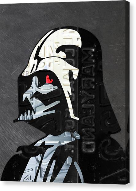 Darth Vader Canvas Print - Darth Vader Helmet Star Wars Portrait Recycled License Plate Art by Design Turnpike