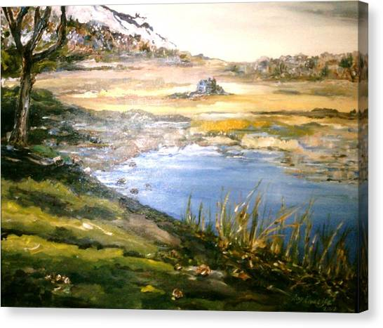 Canvas Print featuring the painting Dartmouth Landscape by Ray Khalife