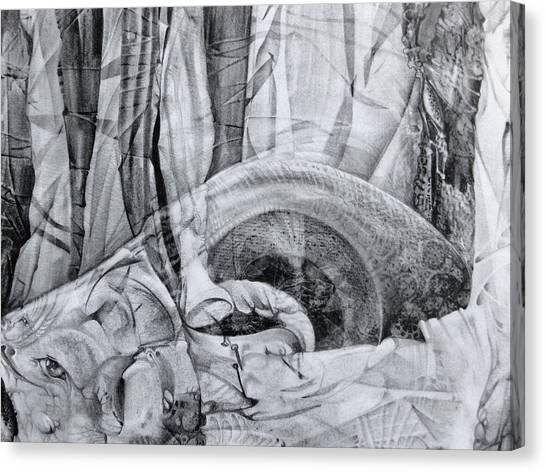 Das Monster Hat Sich Im Ungebuegelten Hintergrund Versteckt Canvas Print