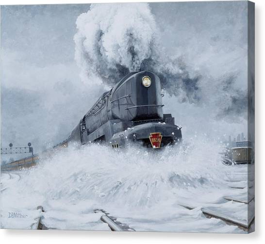 Railroads Canvas Print - Dashing Through The Snow by David Mittner
