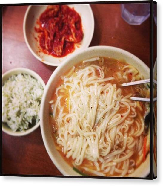 Korean Canvas Print - Dat #korean #food #losangeles #ktown by Mike Courtney