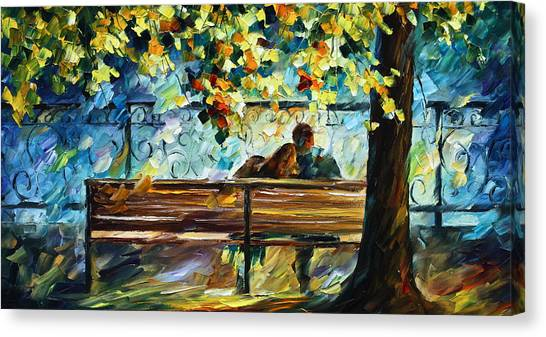 Park Benches Canvas Print - Date On The Bench by Leonid Afremov