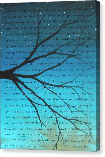 Bands Canvas Print - Dave Matthews Band Crush Lyric Art - Blue by Michelle Eshleman
