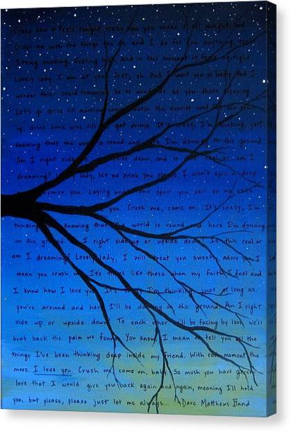 Crazy Canvas Print - Dave Matthews Band Crush Song Lyric Art by Michelle Eshleman