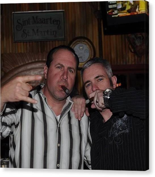 Rum Canvas Print - Dave (r) And Me (l) Enjoying A #cigar by James Crawshaw