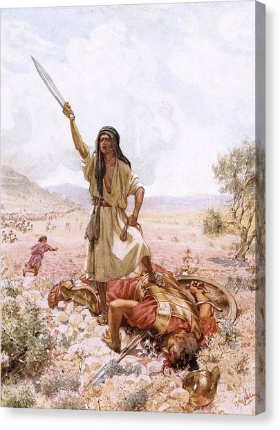 Old Testament Canvas Print - David And Goliath by William Brassey Hole