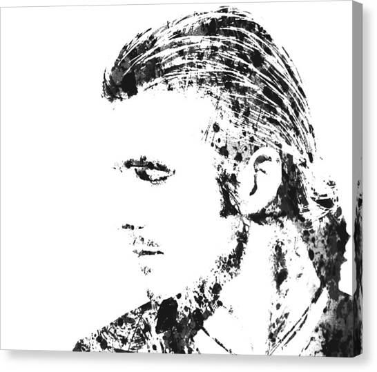 British Premier League Canvas Print - David Becham Paint Splatter 3a by Brian Reaves