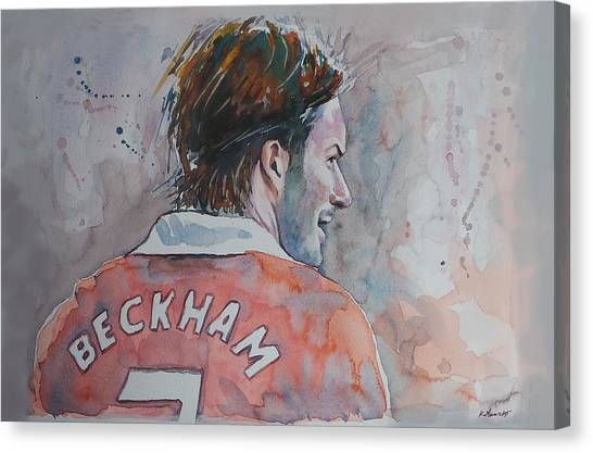 Ac Milan Canvas Print - David Beckham - Portrait 2 by Baris Kibar