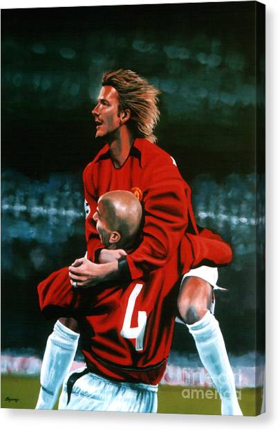 Goal Canvas Print - David Beckham And Juan Sebastian Veron by Paul Meijering