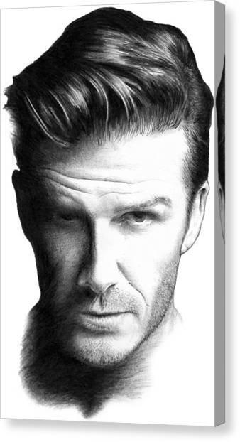 David Beckham Canvas Print - David Beckham Pencil Portrait by Mike Bruce