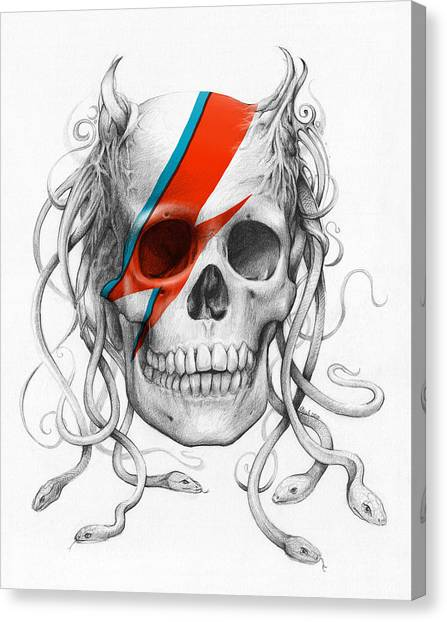 Pencil Canvas Print - David Bowie Aladdin Sane Medusa Skull by Olga Shvartsur