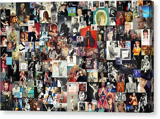 England Canvas Print - David Bowie Collage by Taylan Apukovska