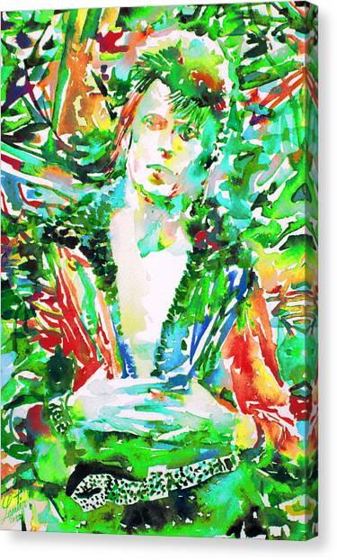 David Bowie Watercolor Portrait.2 Canvas Print