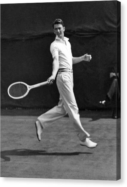 Tennis Racquet Canvas Print - Davis Cup Play by Underwood Archives