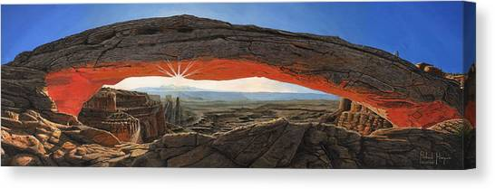 Desert Sunrises Canvas Print - Dawn At Mesa Arch Canyonlands Utah by Richard Harpum