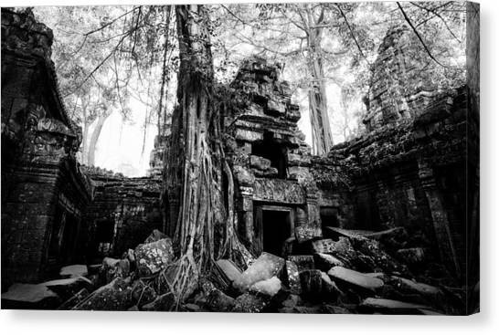 Canvas Print featuring the photograph Dawn At Ta Prohm by Julian Cook