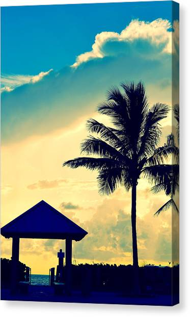 Palm Trees Sunsets Canvas Print - Dawn Beach Pyramid by Laura Fasulo