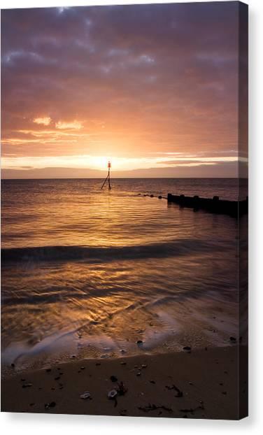 Dawn By The Sea Canvas Print by Mara Acoma