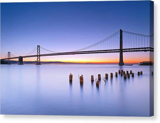 San Francisco Canvas Print - Dawn Colors - Bay Bridge by David Yu