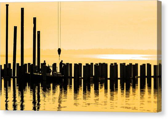 Dawn Dock Work Canvas Print