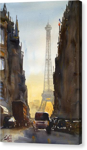 Eiffel Tower Canvas Print - Dawn In Paris by James Nyika
