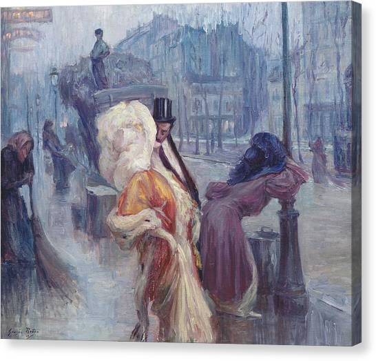 Sick Canvas Print - Dawn Leaving The Restaurant In Montmartre by Georges Redon