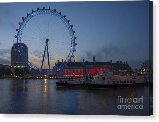 Dawn Light At The London Eye Canvas Print by Donald Davis