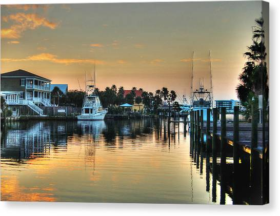 Dawn On A Orange Beach Canal Canvas Print