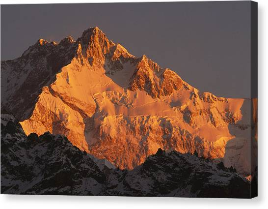 Kangchenjunga Canvas Print - Dawn On Kangchenjunga Talung by Colin Monteath