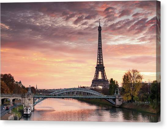 Dawn Over Eiffel Tower And Seine Canvas Print by Matteo Colombo