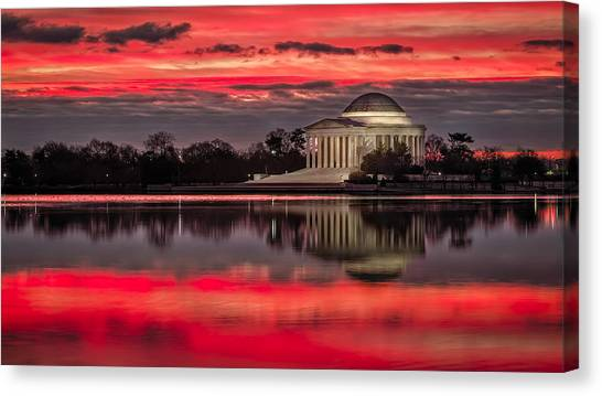City Sunrises Canvas Print - Dawn Over Jefferson Memorial by Eduard Moldoveanu
