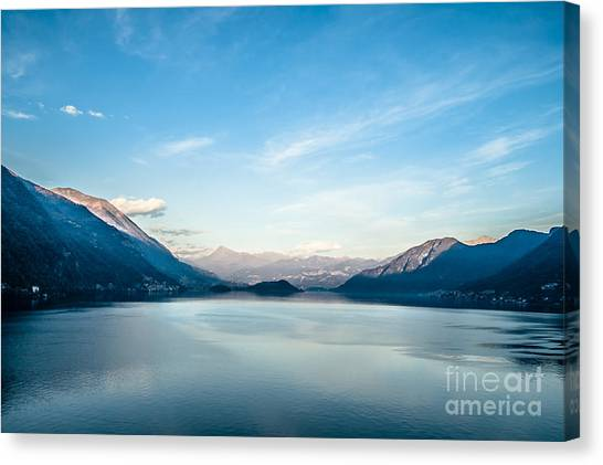 Dawn Over Mountains Lake Como Italy Canvas Print