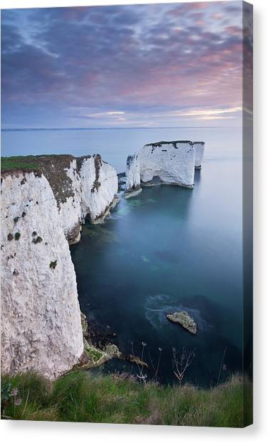 Cliff Burton Canvas Print - Dawn Over Old Harry Rocks On The by Adam Burton / Robertharding