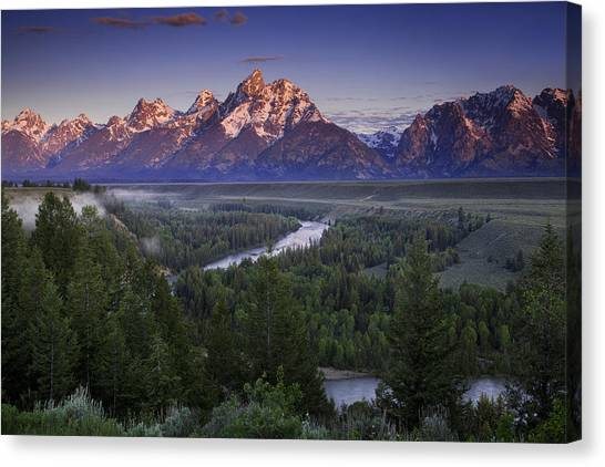 Teton National Forest Canvas Print - Dawn Over The Tetons by Andrew Soundarajan