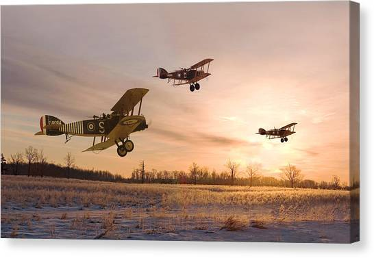 Biplane Canvas Print - Dawn Patrol by Pat Speirs