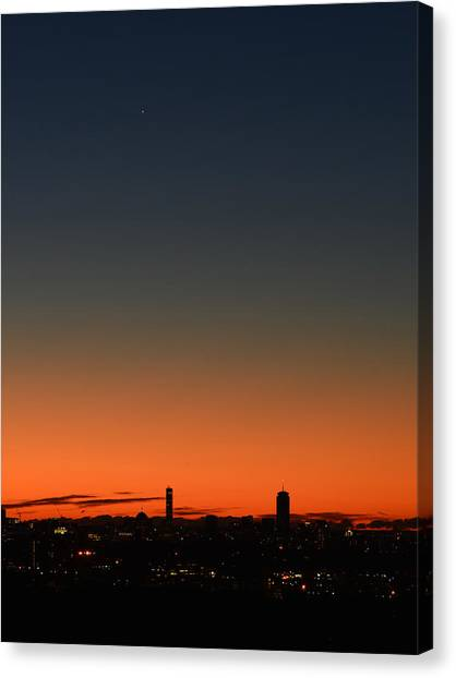 Dawn Sky Over Boston Canvas Print