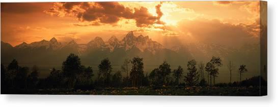 Wy Canvas Print - Dawn Teton Range Grand Teton National by Panoramic Images