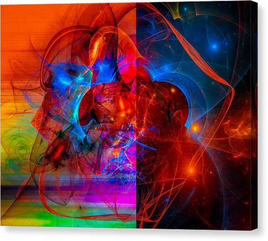 Colorful Digital Abstract Art - Day And Night Canvas Print
