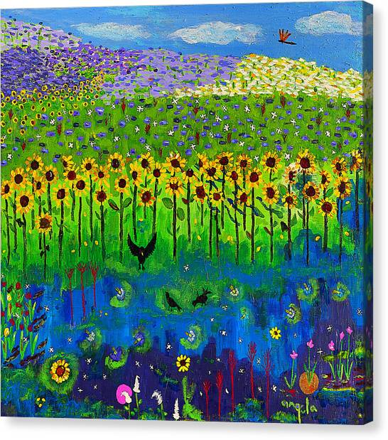 Day And Night In A Sunflower Field I  Canvas Print