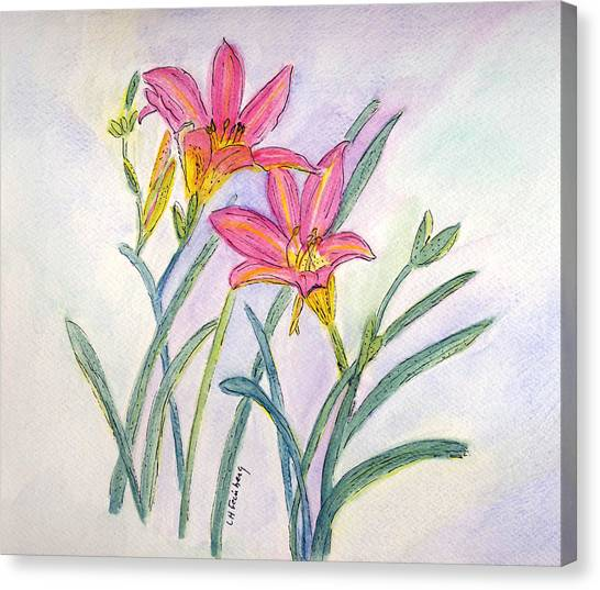 Canvas Print featuring the painting Day Lilies by Linda Feinberg