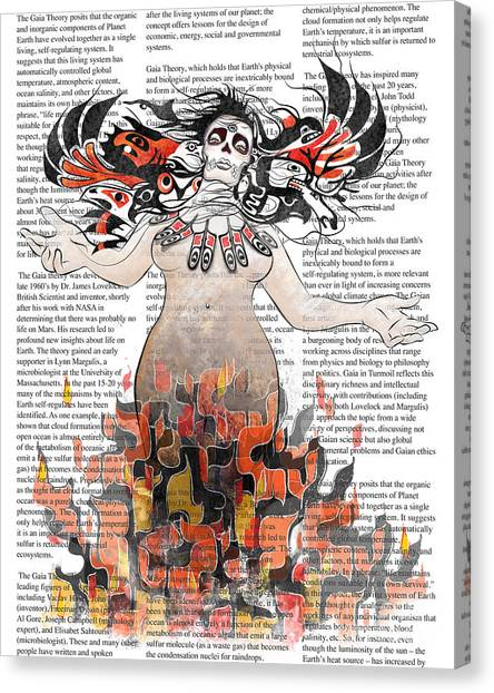 Ravens Canvas Print - Day Of The Dead Gaia In Flames With Text Illustration Print by Sassan Filsoof