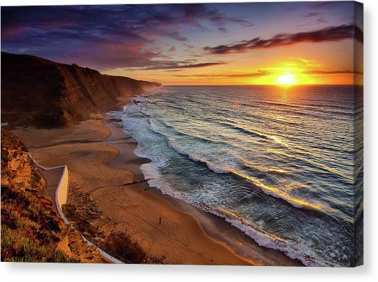 Beach Sunsets Canvas Print - Day One by Paulo Gomes