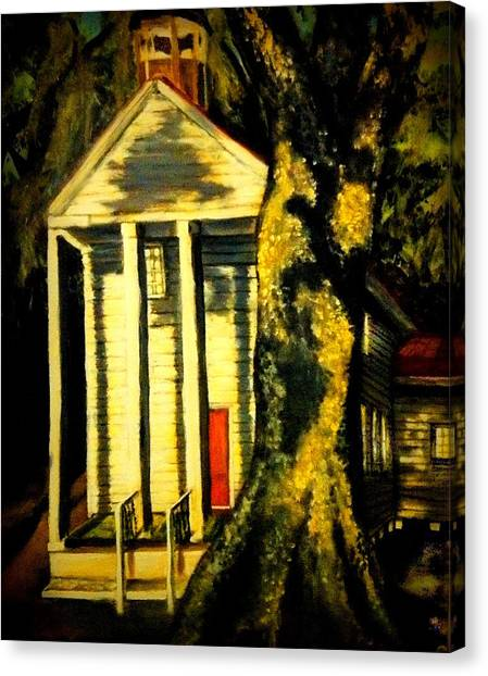Daybreak On Oak Church Canvas Print