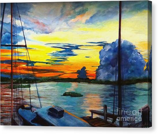 Daybreak Over  Apalachicola River  Canvas Print