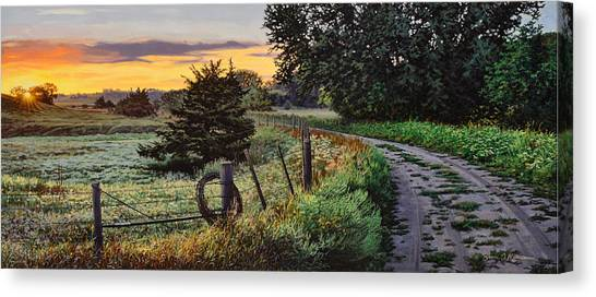 Daybreak Southwest Corner Fenceline Canvas Print
