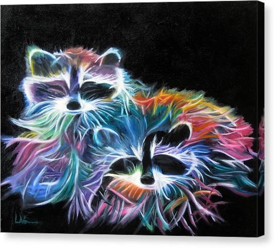 Dayglow Raccoons Canvas Print