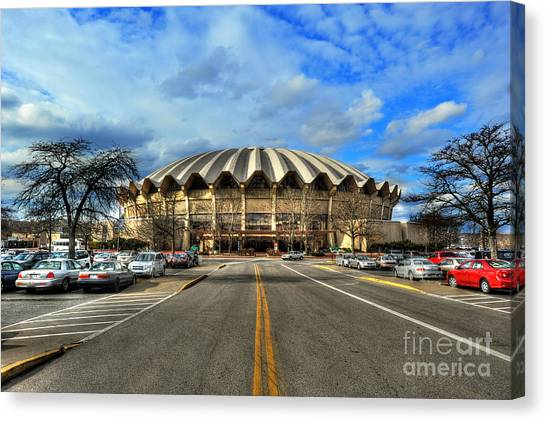 Daylight Of Wvu Basketball Coliseum Arena Canvas Print
