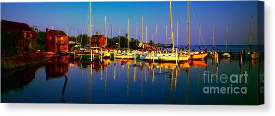 Daytona Beach Florida Inland Waterway Private Boat Yard With Bird   Canvas Print