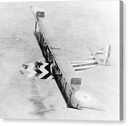 Seaplanes Canvas Print - Dazzle Painted Flying Boat by Us Navy/science Photo Library